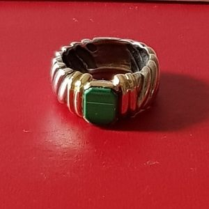 David Yurman Malachite Cable Ring With Gold